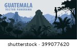 vector panorama with tikal... | Shutterstock .eps vector #399077620
