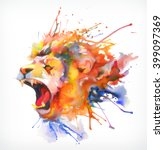 Stock vector watercolor painting roaring lion vector illustration isolated on a white background 399097369