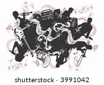 grungy illustration of musicians | Shutterstock .eps vector #3991042