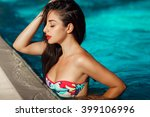 beautiful woman at swimming...   Shutterstock . vector #399106996