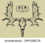 elk skull engraving style....   Shutterstock .eps vector #399108274