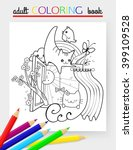 adult coloring book. cheerful... | Shutterstock .eps vector #399109528
