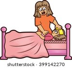 mother taking care of her ill... | Shutterstock .eps vector #399142270