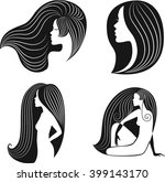logo girls. vector hand drawn... | Shutterstock .eps vector #399143170