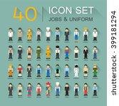 flat design  40 icon set of job ... | Shutterstock .eps vector #399181294