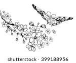 branch of sakura with flowers... | Shutterstock .eps vector #399188956