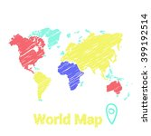 vector map of the world drawn...   Shutterstock .eps vector #399192514