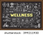 doodles about wellness on... | Shutterstock .eps vector #399211930