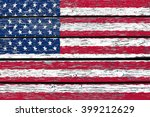 flag of usa painted on wood... | Shutterstock . vector #399212629