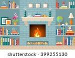living room with bookshelves ...   Shutterstock .eps vector #399255130