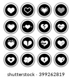 heart icons silver icon set.... | Shutterstock . vector #399262819