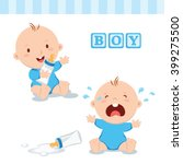 cute baby boy with milk bottle. ... | Shutterstock .eps vector #399275500