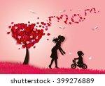 beautiful women with her... | Shutterstock .eps vector #399276889