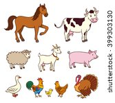 farm animals in cartoon style.... | Shutterstock .eps vector #399303130