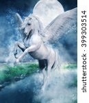 Fantasy White Pegasus Flying...