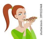 girl eats pizza. yong girl with ... | Shutterstock . vector #399322468