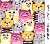cute cats colorful seamless... | Shutterstock .eps vector #399342628