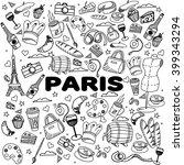 paris coloring book line art... | Shutterstock . vector #399343294