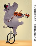 funny hippo on an unicycle.... | Shutterstock .eps vector #399358648