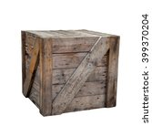 Old Wood Box Isolated On White...