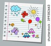 notebook paper happy summer day   Shutterstock .eps vector #399382663