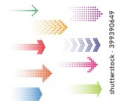 set of dotted arrows. halftone... | Shutterstock .eps vector #399390649