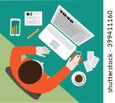 tax day flat design. filling... | Shutterstock .eps vector #399411160