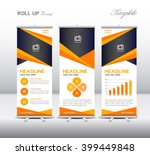 orange roll up banner template... | Shutterstock .eps vector #399449848