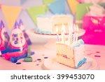 simple white birthday cake... | Shutterstock . vector #399453070