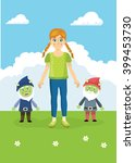 girl and gnomes.        | Shutterstock .eps vector #399453730