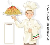 chef with spaghetti and menu | Shutterstock .eps vector #399487978