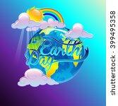 "cartoon vector poster ""earth... | Shutterstock .eps vector #399495358"