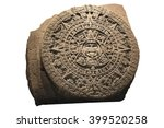 Small photo of Archeological Aztec Sun Calendar The Aztec calendar stone was made by the Mexica culture in Mexico around 1300 AD. It is displayed at the National Museum of Anthropology in Mexico City