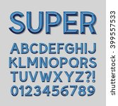 layered blue shade alphabet and ... | Shutterstock .eps vector #399557533