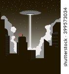alien invasion. ufo destroys... | Shutterstock .eps vector #399573034