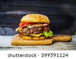 homemade hamburger with fresh... | Shutterstock . vector #399591124
