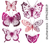 vector set of butterfly sketch  ... | Shutterstock .eps vector #399628819