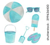 Watercolor Beach Clipart...