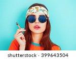 Hippy Girl Smoking Weed And...