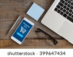 shopping cart in a mobile phone.... | Shutterstock . vector #399647434