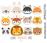 Stock vector set of twelve cute animals illustration of fox rabbit husky shiba inu deer cat panda 399652753