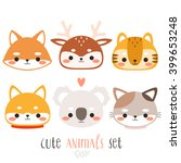 set of six illustration of cute ... | Shutterstock .eps vector #399653248
