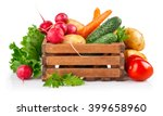 fresh vegetables in wooden box. ... | Shutterstock . vector #399658960