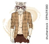 hipster tiger in a jacket and... | Shutterstock .eps vector #399659380