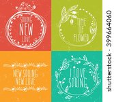 hand drawn spring labels with... | Shutterstock .eps vector #399664060