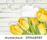 paper card with tulips on... | Shutterstock .eps vector #399668989