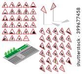 isometric triangular warning...   Shutterstock .eps vector #399677458
