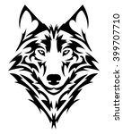 beautiful wolf tattoo.vector... | Shutterstock .eps vector #399707710