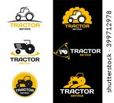 yellow and black tractor logo... | Shutterstock .eps vector #399712978