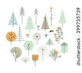 trees geometric line icons ... | Shutterstock .eps vector #399735739